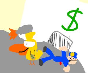 Duck successfully robs a bank by killin polic