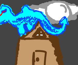 Dragon shooting Lazer eyes aon a roof