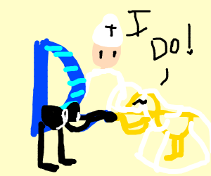 Drawception and golden duck get married