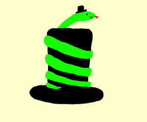 snake wrapped around tophat