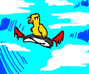 Duck riding a clock