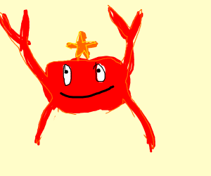 Sea star balances on mighty crab's head
