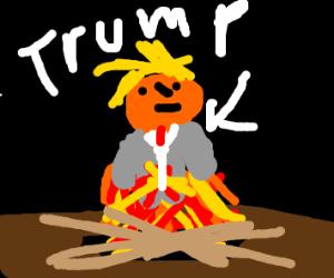 donald trump in fire pit