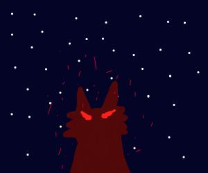 demon cat under night sky