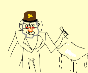 Grunkle Stan in a suit while on crack