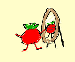 tomato looks in mirror and calls self ugly