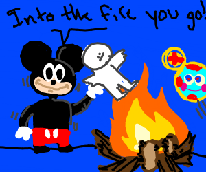 Mickey M. Holding Embarrased Child Near Fire