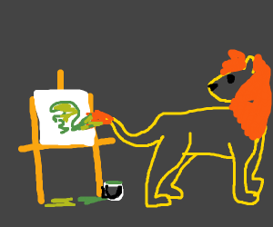 Lion paints with his tail!