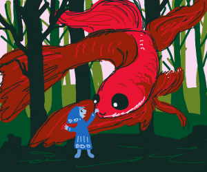 Small child befriends giant red beta fish