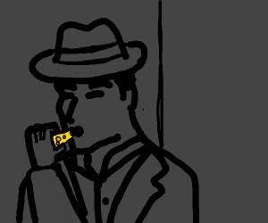 Film noir guy eating cheese