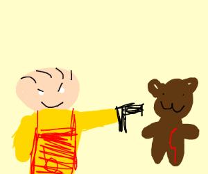 stewie shoots a teddy bear