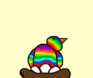rainbow bird mom