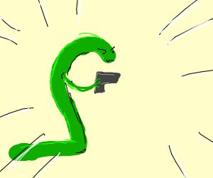 the snake has a gun!