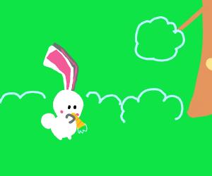 Bunny eating a tiny carrot