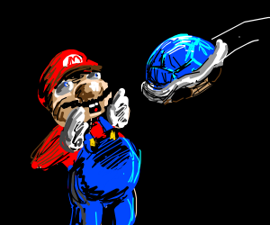 blue shell about to hit mario