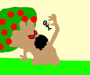 evil apple tree devours a human