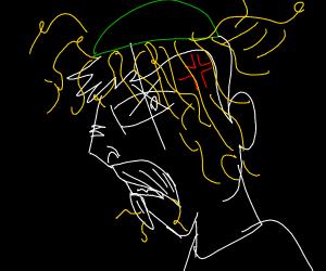 Man with spaghetti dumped on head