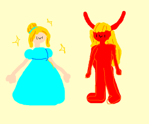 Cinderella and devil with blond hair