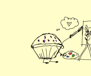 Raisin muffin painting flowers
