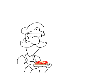 luigi with a plate of spagetti