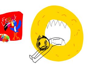 Man being eaten by Froot Loops