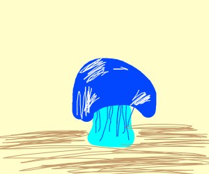 a blue mushroom.