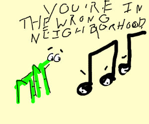 music notes gang up on stick bug
