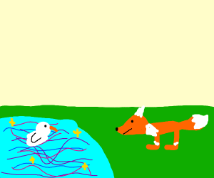 fox and duck with a magic pond