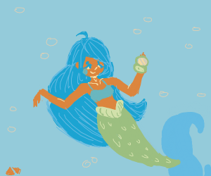 Blue haired mermaid