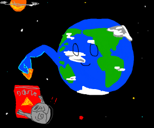 The Earth grabs some Doritos