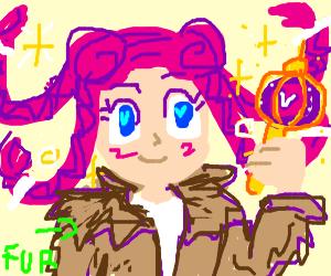 Kawaii Magic Girl with fur cloak