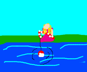 Cutie fishing with candycane