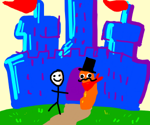 Stickman In a blue place with a orange Cheeto