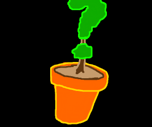 question mark in a plant pot