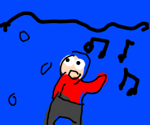 man singing under the sea