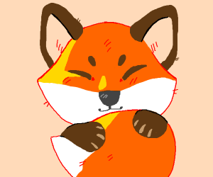 A very happy fox holding there tail