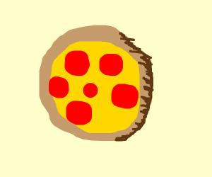 peperoni and mustard pizza