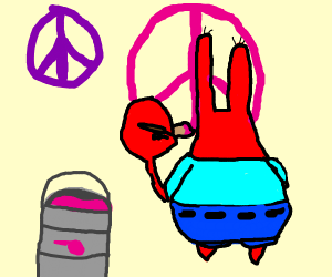 Crab drawing the peace sign