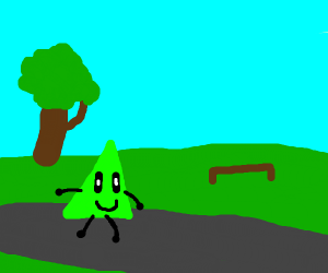 A green triangle going for a stroll
