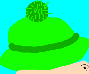 Green hat with green pompom