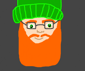 a red bearded man with glasses