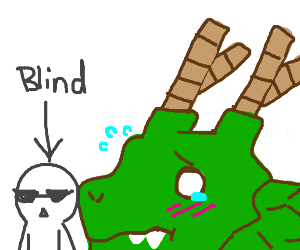 A blind man casually walks away from a dragon