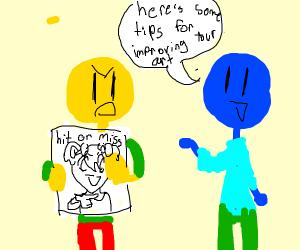 yellow man can't take art critique