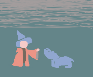 A young witch and her pet hippo