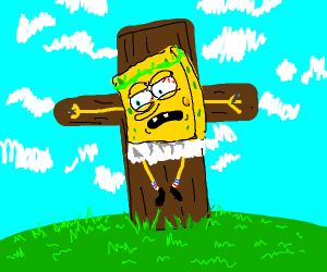 Jesus Spongebob on the cross