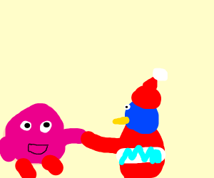 kirby and king dedede shake hands