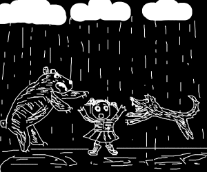 bear and coyote jumping a girl in the rain