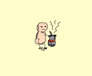 Naked man cooking