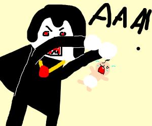 Vampire yells at a baby
