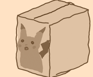 Surprised pikachu but as a cardboard box